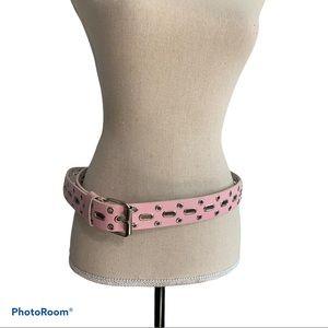 Pink leather studded fashion belt Y2K